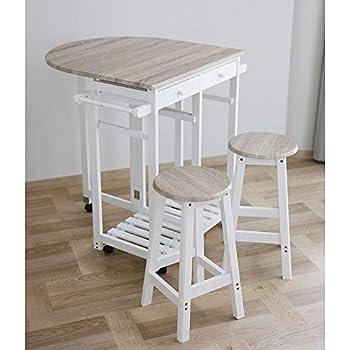 Festnight Bartisch Stehtisch Frühstückstisch mit Stühlen