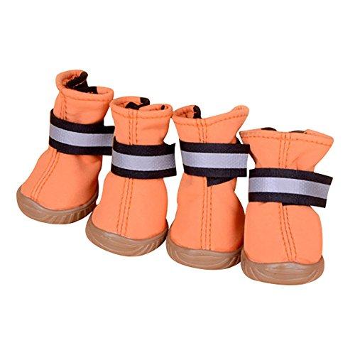 XiYunHan Pet Regen Stiefel, Leder Skid Fuß Stiefel Oxford Stiefel 4 Stück Hund Turnschuhe Stiefel 2 Farbe 5 Größe (Color : Orange, Size : 1#)