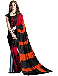 Vastrang Saree's Black Orange & Red Color Crepe Silk Party Wear Designer Printed Saree(VSHL7112B_Free Size)