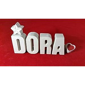 Beton, Steinguss Buchstaben 3D Deko Namen DORA als Geschenk verpackt!