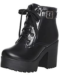 UH Damen Blockabsatz Stiefeletten Schnürung Plateau High Heels Boots mit  Schnalle 10cm Absatz Warm Schuhe 1afce68b14