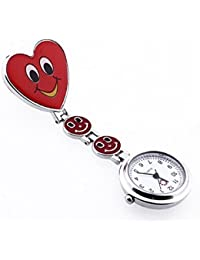 Gleader Reloj Bolsillo Metal Tipo Enfermera Cuarzo Corazon Risa Esfera Redondo Rojo