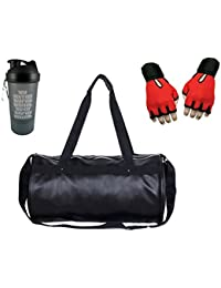 Hyper Adam AN-302 Trendy Gym Bag, Protein Shaker And Gym Glove With Wrist Support Combo