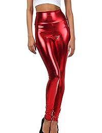 HCFKJ Mujer Ropa Elastico Fitness Invierno Moda Casual Sexy Cintura Alta  MetáLico LíQuido Brillante Leggings EláSticos 7919a6ff4b59