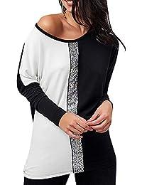 Rosegal T-Shirts Femme Manches Longues Chemise épaules dénudée Mode Tunique  Chic Longue Tops Automne c0efc4234de