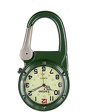 Entino-Marken-Silber-Clip auf grünem Karabiner-leuchtendes Gesicht Starke FOB-Uhr Ärzte Krankenschwestern Sanitäter-Köche...
