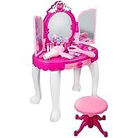 Tocador Niña Princesa, Encantadora Tocador para Princesa con Taburete, Espejo, Secador de Pelo