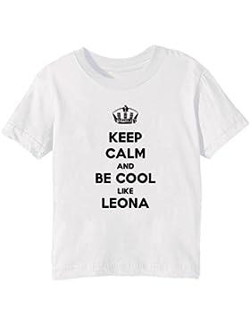 Keep Calm And Be Cool Like Leona Bambini Unisex Ragazzi Ragazze T-Shirt Maglietta Bianco Maniche Corte Tutti Dimensioni...