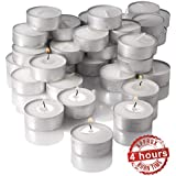 Mayassar Set Of 25 Tealight Unscented Floating Candles | 4 Hours Burning Time | Smokeless | Suitable For Candle Holders & Oil Diffusers | Romantic Tea Light Candles | Made Of Premium Quality Wax | Perfect For Use At Home, Office, Spa, Cafe, Restaurant