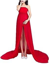 Vestido de embarazada sin manga larga de gasa Con un pantalón interior de regalo Vestido perfecto