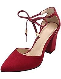 YE Damen Chunky High Heels Sandalen mit Blockabsatz Schnürung Geschlossen Pumps  8cm Absatz Bequem Schuhe 97527def28