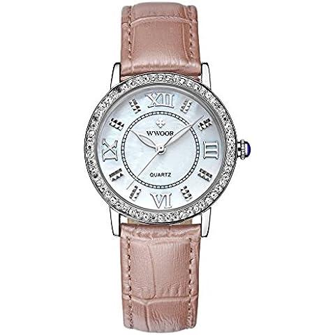 pkaty da donna casual analogico al quarzo luminoso strass quadrante coccodrillo cintura orologio da polso (Non Sleeper)