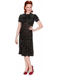 Lindy Bop �Amie� : Vintage WW2 1940s -1950s Robe Noire a Pois. Pinup Retro. Parfaite Pour le The