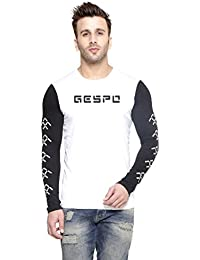 New Trendy Gespo Men'S Cotton Round Neck Full Sleeves Tshirt (Black::White)