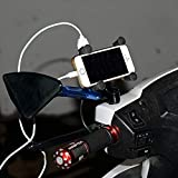 Ceuta, Automotive 360 Degrees Rotation Motorbike Motorcycle Holder For Mobile Phones PDA GPS Holders With USB Charger (Black)