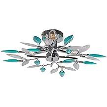 Diseño luz blanca hojas flores turquesa comedor cromo lámpara Globo 63181-3