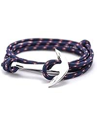 BS - Bracelet Ancre Marine - Mixte - Cordage de Voile & Ancre en Métal Argenté