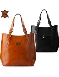 italienisches Design Shopper Bag Tasche Damentasche Naturleder Henkeltasche