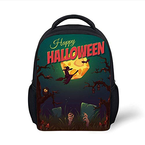 Kids School Backpack Halloween,Happy Halloween Poster Design Witch on Broom Mushroom Dead Resurgence Vintage Decorative,Multicolor Plain Bookbag Travel Daypack