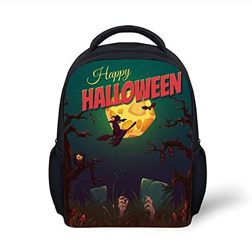Halloween,Happy Halloween Poster Design Witch on Broom Mushroom Dead Resurgence Vintage Decorative,Multicolor Plain Bookbag Travel Daypack ()