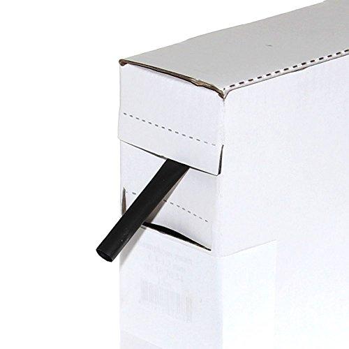 Preisvergleich Produktbild (0,90€/m) 1 Rolle Schrumpfschlauch 12m Schwarz Ø 6,4mm auf 3,2mm im Rollenspender 2:1 Leitung Kfz Elektrik Isolation Schlauch Umbau Neu Otto-Harvest