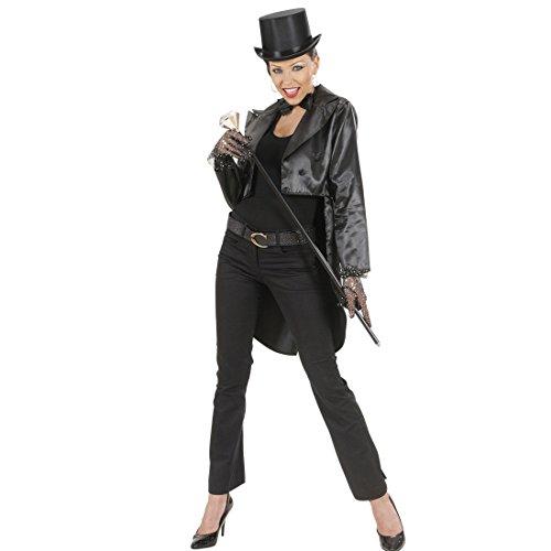 Kostüm Frauen Kabarett - Amakando Damenfrack Satin schwarz Frack Damen M 38/40 Frauenfrack Kabarett Showgirl Outfit Can Can Revue Damenkostüm Marlene Kostüm