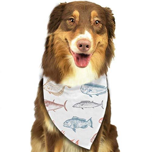 Schiedsrichter Kostüm Weiblich - Hipiyoled Fisch-Skizzen-Muster-stilvolle Hundebandanas Lätzchen Schals Haustier-Schals Katzen-Hundeschal