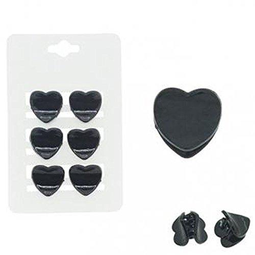 Lot de 6 Mini Pinces Coeur - Plastique - Noir - Accessoire Coiffure