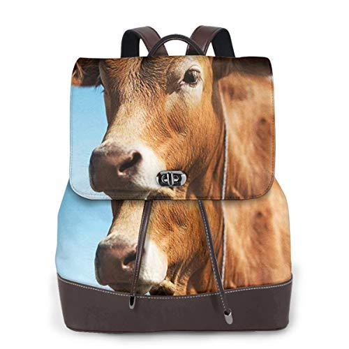 SGSKJ Rucksack Damen Hübsche braune Kuh, Leder Rucksack Damen 13 Inch Laptop Rucksack Frauen Leder Schultasche Casual Daypack Schulrucksäcke Tasche Schulranzen
