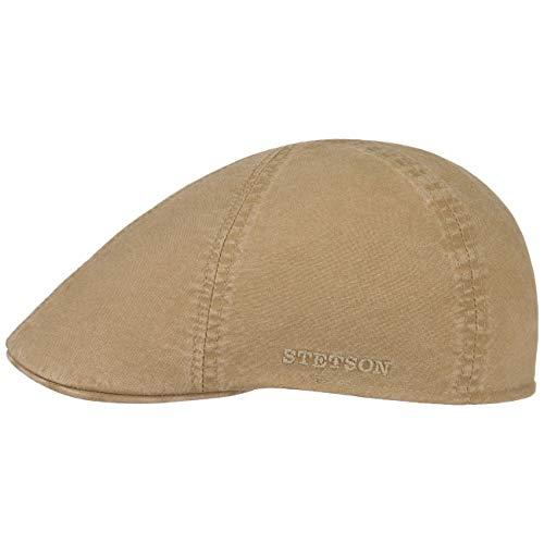Stetson Texas Organic Cotton Flatcap | Flat Cap Herren | Nachhaltige Schiebermütze | Baumwollcap mit UV-Schutz (40+) | Herrencap Frühjahr/Sommer | Schieberkappe beige M (56-57 cm)