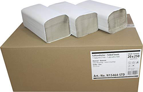 5000 (20 x 250 Blatt) Falthandtücher Papier-Handtücher 1-lagig V-Falz 25 x 23 cm Farbe: Natur von Medi-Inn