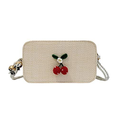 Mitlfuny handbemalte Ledertasche, Schultertasche, Geschenk, Handgefertigte Tasche,Frauen-modische Sommer-Webart-Schulter-Beutel-Damen nette Cherry Beach Crossbody-Taschen