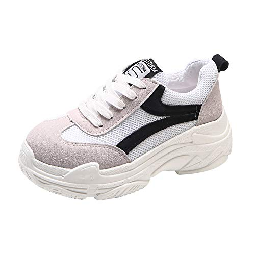 QinMM Zapatillas Planos con Cordones para Mujer Zapatillas de Deporte Salvajes Zapatillas Deportivas Transpirables de Malla Plataforma