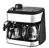 Team Kalorik 2-in-1 Kaffee- und Espressomaschine, Inklusive 2 Glaskannen (1,25 l + 0,24 l), 1800 W, Schwarz/Silber, TKG EXP 1001 C