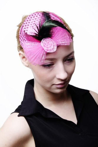 DRESS ME UP – Fascinator Miniatur Hut Mini Zylinder Pink Rosa Damen Burlesque Pailletten H30