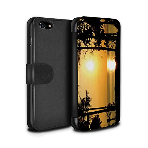STUFF4 PU-Leder Hülle/Case/Tasche/Cover für Apple iPhone 5C / Blaues Meer Muster / Sonnenuntergang Kollektion Tropische Bäume