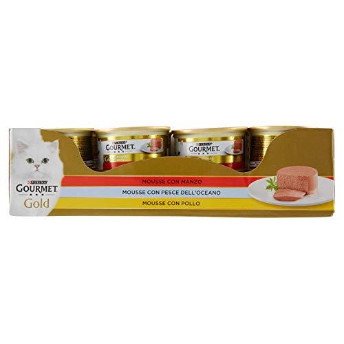 Purina Gourmet Gold Umido Gatto Mousse con Manzo, con Pesce Dell'Oceano, con Pollo, 24 Lattine da 85 g Ciascuna, Confezione da 24 x 85 g
