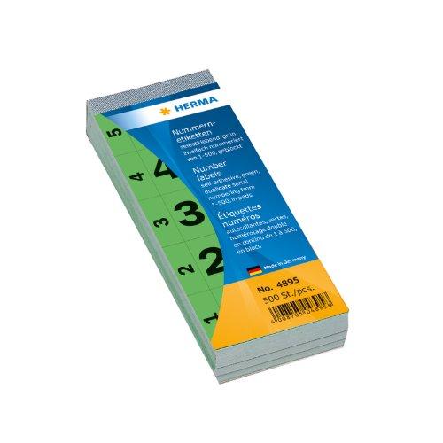 Herma 4895 Nummernblock grün, Zahlen von 000 - 500 (28 x 56 mm) 1.000 Nummernetiketten, jede Zahl zweimal vorhanden, doppelt nummeriert, selbstklebend, fortlaufend