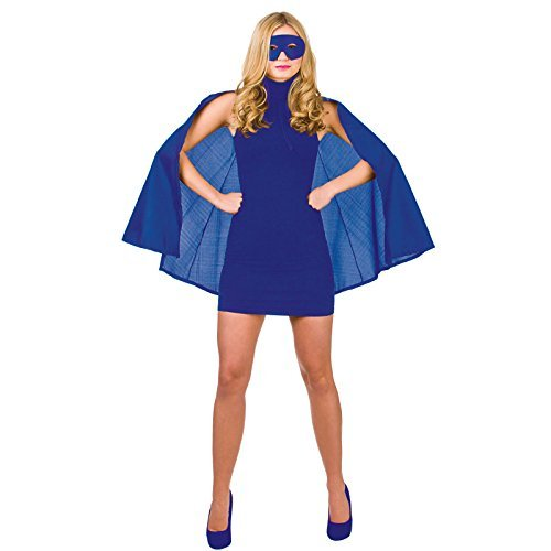 Super Hero Cape with mask Blue Superhero Fancy Dress Wonder Woman ()