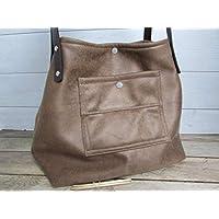 Sac à main vintage fait main, sac cabas en simili cuir marron, besace avec pochette - 28 x 46 x 20 cm, Cadeaux anniversaires, cadeaux Noël, cadeaux maman, st Valentin
