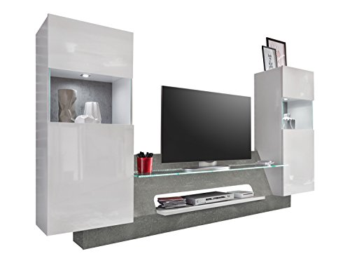 Furnline Living Room Furniture Wall Unit Air High Gloss TV Stand Wood White