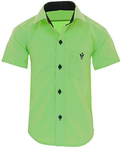 GILLSONZ A70vDa Kinder Party Hemd Freizeit Hemd bügelleicht Kurz ARM 7 Farben Gr.86-158 (134/140, Apfelgrün) -