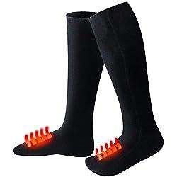 IsEasy Chaussettes Thermiques d'Hiver Plus Chaudes Electriques Chauffantes en Coton de Qualité Supérieure, Chaussettes Chauffantes à l'Aide du Baterie