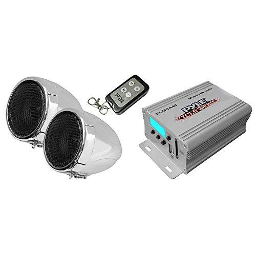 Pyle 100 Watt Wetterfeste Lautsprecher und Verstärker mit zwei 3-Zoll-Lautsprecher, SD-Leser, Aux(3,5 mm)