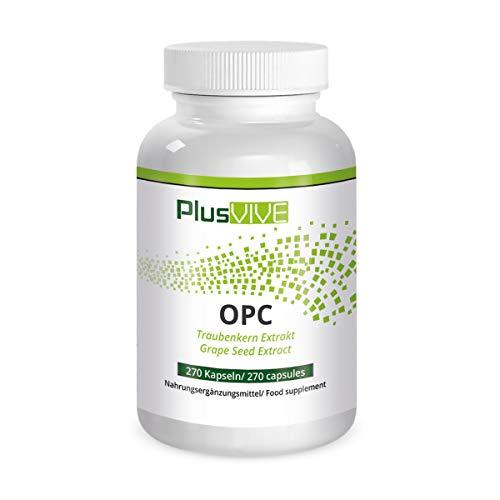 Plusvive OPC-Kapseln mit Traubenkernextrakt aus französischen Trauben, (400mg)