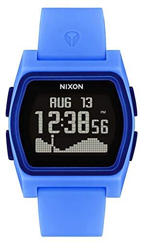Nixon Rival Tide Powder Blue orologio da donna con cinturino in silicone (38 mm). Cinturino in silicone nero e blu cipria).