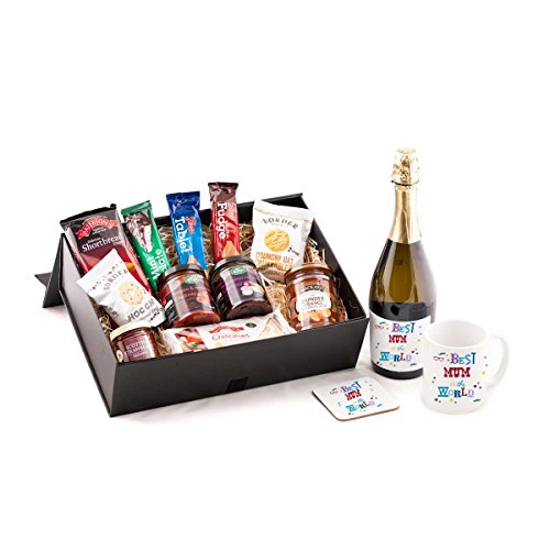 Best Mum in the World Prosecco Hamper - With sparkling prosecco wine. Great Birthday or Christmas present idea for your Mum from Scotland. Includes quality prosecco, and mug and coaster set - Best Mum in The World.
