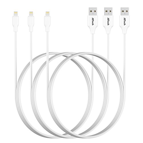 JETech 0457- Cable Lightning (certificación Apple, Lightning a USB, 1 m),Cable de conexión para iPhone X/8/8 Plus/7/7 Plus/6/6 Plus/SE/5s/5,iPad Pro/Air/mini (blanco, 3-Pack)