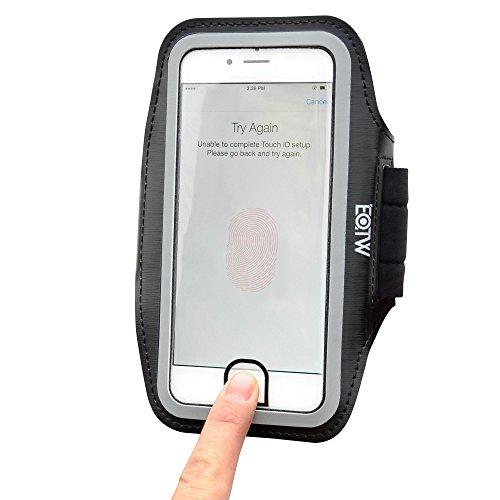 IPhone 7 Plus Armband, EOTW Sportarmband Handyhülle für iPhone 7 Plus mit Aussparungen für Home Taste ID-Touch für Laufen, Joggen, Gym etc. (5.5 Zoll, Schwarz) Iphone 6 Plus Bereich