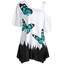 VEMOW Large Size 2018 Spring Summer Tops for Women Ladies Girls UK Daily White Blue Butterfly Polyester Printing T-Shirt Short Sleeve Casual Green Tops Blouse Mother's Day Gift Home Dresses